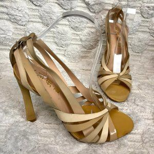 L.A.M.B. Nude Strappy Peep Toe Sandals